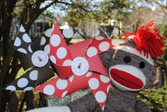 Sock Monkey theme. Pinwheels are a must!