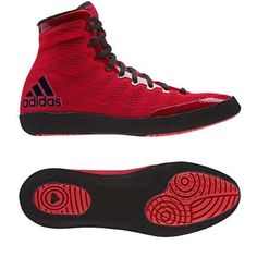 9cedfa30a048d9 Adidas adiZero Varner High Top Wrestling Shoes - 10.5 - Red Black