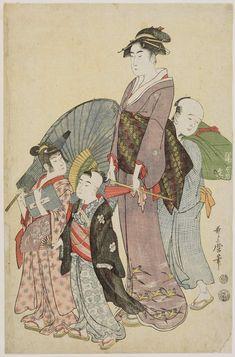 Kitagawa Utamaro: Woman Walking with Two Children and Servant - Museum of Fine Arts