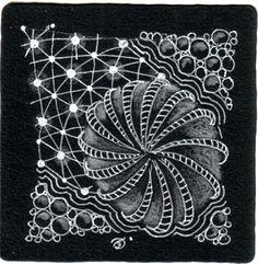 Aimée P. Belair, Certified Zentangle Teacher - CZT - Sutton, MA: Black tile practice with Pepper, Tipple, and Patena