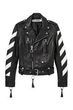 A twist on the classic black leather jacket with white stripes down the sleeves.  Leather jacket, Off-White c/o Virgil Abloh
