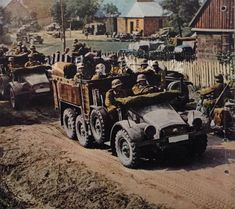 Krupp Protze Kfz 70 troop transports on the move during the invasion of Poland during Military Photos, Military History, Invasion Of Poland, Luftwaffe, Germany Ww2, Ww2 Pictures, Military Modelling, Ww2 Tanks, Military Diorama