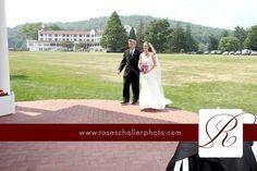 Bride walking to ceremony Shawnee Inn Resort Pocono wedding photographer Rose Schaller Photo