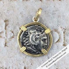 cc593dc24 8230 Alexander the Great Ancient Greek Silver Drachm circa 323 BC 18K Gold  Pendant Alexander The