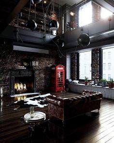 via heavywait - modern design architecture interior design home decor & Industrial Interior Design, Industrial House, Industrial Interiors, Office Interior Design, Interior Design Inspiration, Interior Design Living Room, Design Ideas, Industrial Chic Decor, Black Interiors
