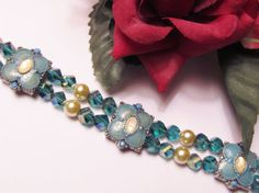 Pearls & Aqua Crystals Necklace with Vintage Enamel Beads by #RomanticThoughts, $39.95
