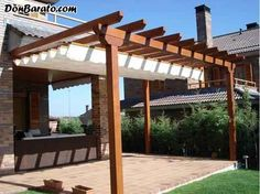 The pergola kits are the easiest and quickest way to build a garden pergola. There are lots of do it yourself pergola kits available to you so that anyone could easily put them together to construct a new structure at their backyard. White Pergola, Small Pergola, Deck With Pergola, Outdoor Pergola, Pergola Lighting, Covered Pergola, Backyard Pergola, Pergola Kits, Pergola Roof
