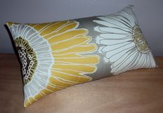 Gray White and Yellow Floral Lumbar Pillow
