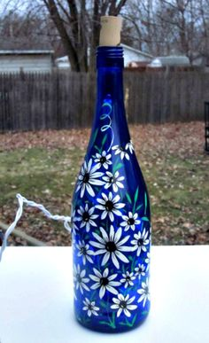 Blue Wine Bottle Light, Table Light,  Hand Painted Wine Bottle Light, White Flowers with Black Centers, Night Light