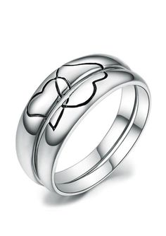 Black Heart Wedding Rings for Couples, Matching Promise Rings in Sterling Silver, Simple Interlocking Hearts Wedding Bands for Women and Men, Beautiful His and Hers Jewelry Set