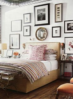 Mix up your photo frames to add a tasteful touch to your bedroom. #homedecor #bedroom #westernliving