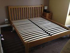 King Size solid oak frame bed 6ft 6in | eBay
