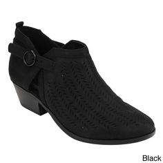 Soda FC61 Women's Perforated Buckle Strap Low Block Heel Ankle Booties
