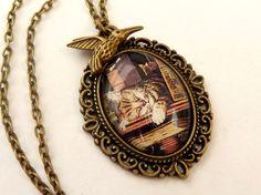 Nostalgic Necklace in bronze with sleeping cat by Schmucktruhe, €19.50