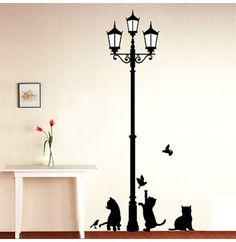 Muursticker zwarte katten onder lantaarn
