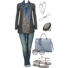 Charcoal/Blue, created by jill-hammel on Polyvore