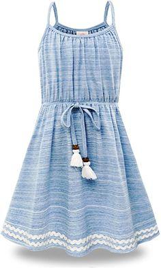 9e9cbda47f5 Amazon.com  Bonny Billy Big Girls Spaghetti Straps Solid Cotton Kid Beach  Dress 5