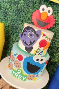 Check out the awesome tiered birthday cake decorated with Sesame Street characters and topped with Elmo at this Sesame Street birthday party! See more party ideas and share yours at CatchMyParty.com Sesame Street Birthday Cakes, Sesame Street Party, Bridal Shower Cakes, Baby Shower Cakes, Boy Shower, Shower Party, Elmo Cake, Cookie Monster Party, Birthday Cake Decorating