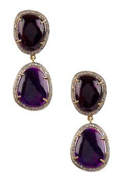 Sugolite Cabochon Diamond Double Drop Earrings - 1.16 ctw on HauteLook