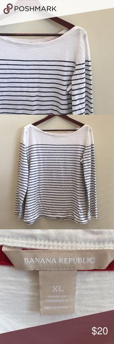 Banana Republic Striped Boat Neck Tee XL Casual and classic navy striped boat neck tee from Banana Republic. Size XL Banana Republic Tops Tees - Long Sleeve