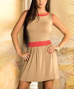 Look at this #zulilyfind! Mocha & Coral Cutout Fit & Flare Dress by AM PM #zulilyfinds