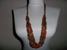 Crocheted Ladder Yarn Necklace Braided or 6 Strand by bestdoilies