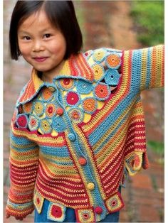 Colourful crocheted cardigan for a girl
