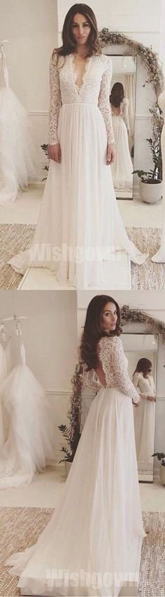 Affordable Long Sleeves Ivory Lace V Neck Elegant Cheap Long Wedding Dresses, WG668 The wedding dresses are fully lined, 4 bones in the bodice, chest pad in the