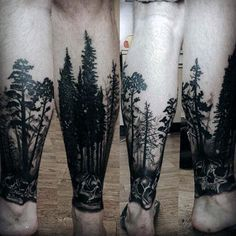 Skull With Trees Forest Tattoos For Men On Lower Leg