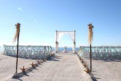 Aqua chiffon with raffia accents for an exotic Florida beach wedding