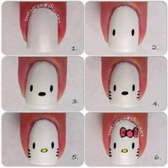 Hello Kitty nail art, cute for my little nice (: