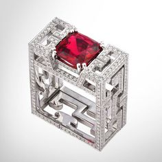From Gemfields: Michelle Obama's favourite Dickson Yewn, whose striking angular ring features a Mozambique ruby ($64,800)