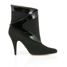Roxanne high heel stiletto vegan ankle boot in black faux suede and faux patent non leather detail with synthetic pleather lining 100% Vegan, vegetarian and cruelty-free. Was £172, now £94! #vegan #shoes #ethical #fashion www.beyondskin.co.uk