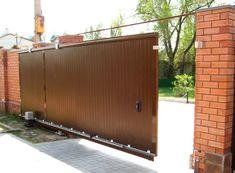 otkatnye_vorota_svoimi_rukami_01 Sliding Gate, Chain Link Fence, Gate Design, Backyard Fences, Tore, Iron Gates, Metal Working, Pergola, Garage Doors