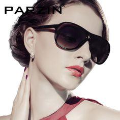 Parzin  Women Polarized Sunglasses Unisex Sun Glasses Vintage Big Box Glasses With Box black  9239
