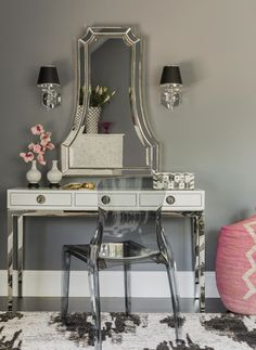 mirror, vanity, lucite chair