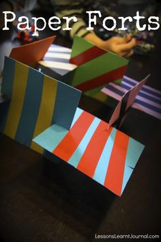 Fun craft activity for kids: make your own fort out of paper cards. Camping Crafts, Fun Crafts, Crafts For Kids, Rainy Day Activities, Summer Activities For Kids, Preschool Activities, Paper Cards, Diy Paper, Cardboard Crafts