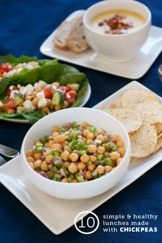 Healthy meals using chickpeas - the salad and chickpea pancakes and chickpea patties recipes are definitely going in my lunch and dinner rotation!