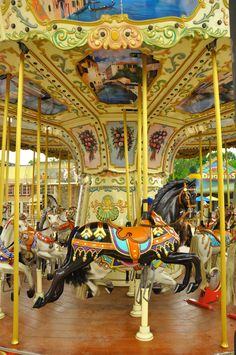 The carrousel at the Island! Pick your horse and go for a ride!