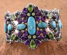 Leo Feeney Turquoise, Amethyst, and Peridot Cuff Bracelet from Turquoise Tortoise Gallery