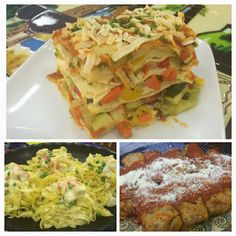 Vegetable Lasagna, Fettuccini with Crab, and Italian-Style Cabbage Rolls. Cabbage Rolls, Fresh Coffee, Italian Style, Lasagna, Bakery, Vegetables, Food, Gourmet, Essen