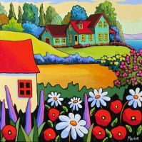 Louise Marion, Künstlerin und Malerin, lebt in Salaberry-de-Valleyfield, Quebec . Painting & Drawing, Watercolor Paintings, Art Paintings, Art Fantaisiste, Cottage Art, Art Et Illustration, Naive Art, Whimsical Art, Landscape Art