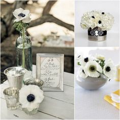inspiration for wedding flowers for black and white wedding | black white wedding colors Black and White Anemone Wedding Inspiration