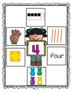 *** FREE *** This is a set of wall posters 1-10 with 7 ways to show each number on each. Each poster shows: the numeral, a 10-frame, tally marks, number word, a set of counting bears, dice, and finger counting. #preschoolnumbers #kindergartenmath #numberposters #numbersense