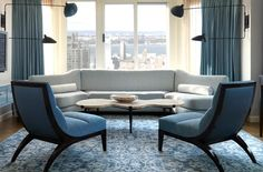 David Collins - love the blue chairs!!!