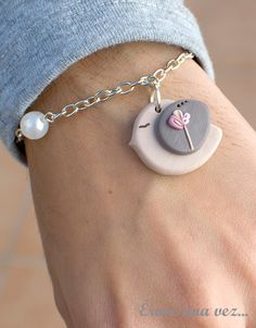 Sweet Bird Bracelet. Polymer clay.. $12.00, via Etsy.