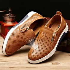 Men Side Zipper Hole Breathable Flat Slip On Casual Leather Shoes - NewChic Mobile.