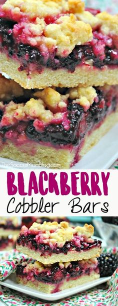 Pie Bars Blackberry Crumble Bars are just like the classic summer pie, in a fabulous hand-held form! Blackberry Crumble Bars are just like the classic summer pie, in a fabulous hand-held form! Easy Dessert Bars, Easy No Bake Desserts, Köstliche Desserts, Delicious Desserts, Yummy Food, Plated Desserts, Healthy Desserts, Blackberry Pie Bars, Blackberry Cobbler