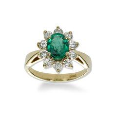Emerald and Diamond Ring, 18K Yellow Gold