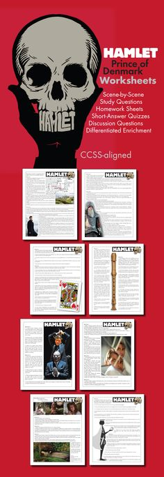 Use this visually stunning package of scene-by-scene questions covering William Shakespeare's timeless tale, The Tragedy of Hamlet, Prince of Denmark, to pull your students into the text and inspire them to think deeply about Shakespeare's themes. #Hamlet